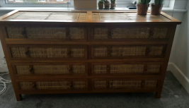 Wood and Wicker Chest of Drawers